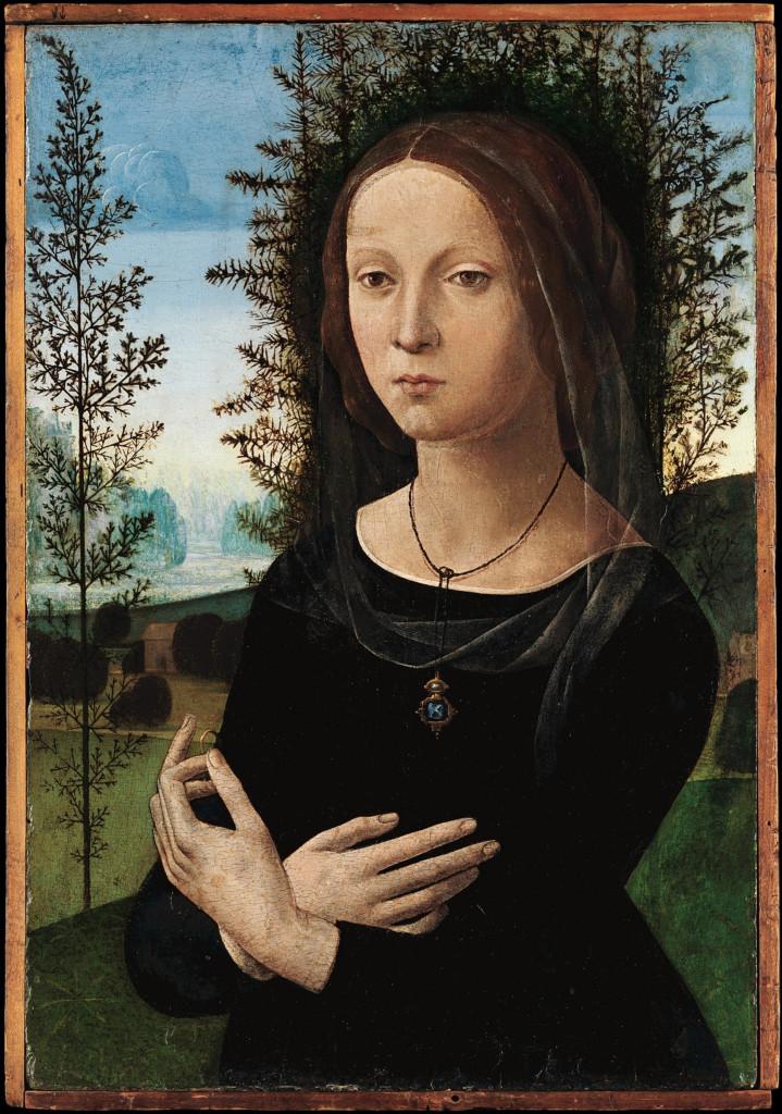 Podobny szal w portrecie kobiecym Lorenzo di Credi