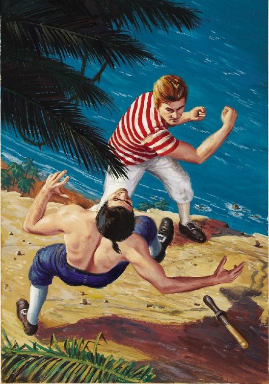 """A tak wyglądała sielanka po zamieszkaniu na wyspie. Ilustracja Morta Kunstlera do powieści """"Pitcairn Island"""" Nordhoff & Hall"""