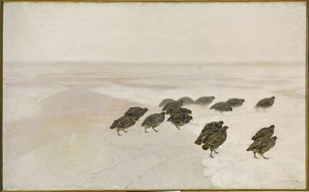 MP 424; Chełmoński, Józef (1849-1914) (malarz); Kuropatwy; 1891; olej; płótno; 123 x 199 [145 x 222 x 9]