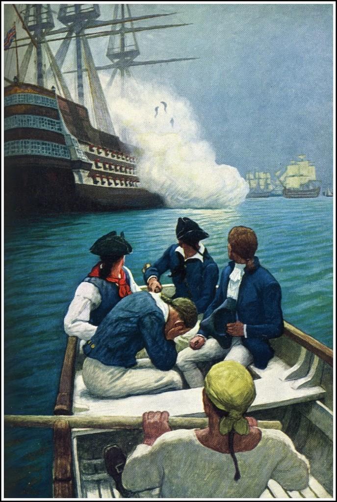 """Szalupa z marynarzami wypędzonymi z """"Bounty"""", """"What was happening"""" ilustracja do Trylogii Bounty, Charles Nordhoff & James Norman Hall, rysunek: N.C. Wyeth, 1940."""